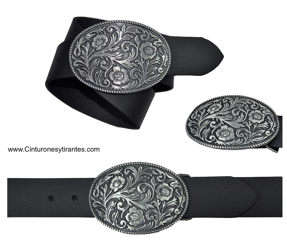 BELT BUCKLE LEATHER WITH OVAL WITH FLORAL MOTIVE A RELIEF