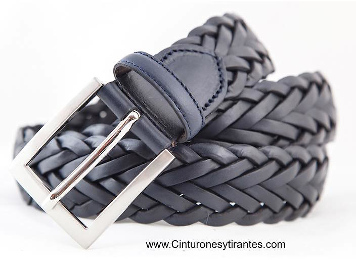 Navy blue leather braided belt