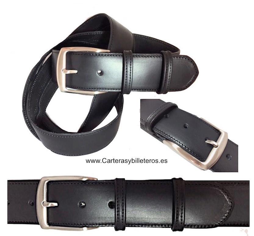 cinturón billetero para hombre de piel ancho negro