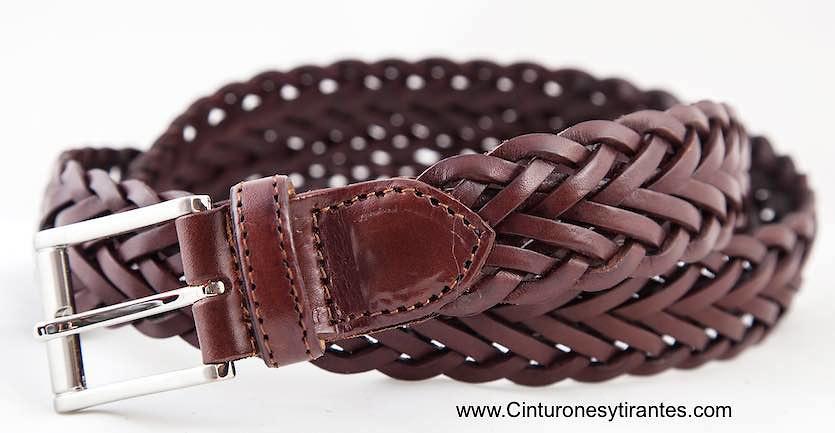 Cinturón trenzado cuero para hombre en color habana modelo 533