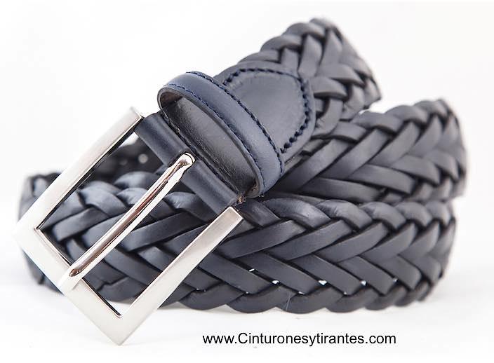 Cinturón trenzado cuero de hombre azul marino