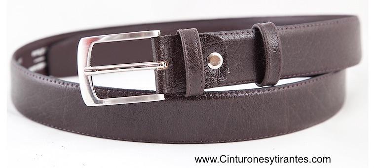 Cinturón marrón oscuro piel de búfalo para vestir