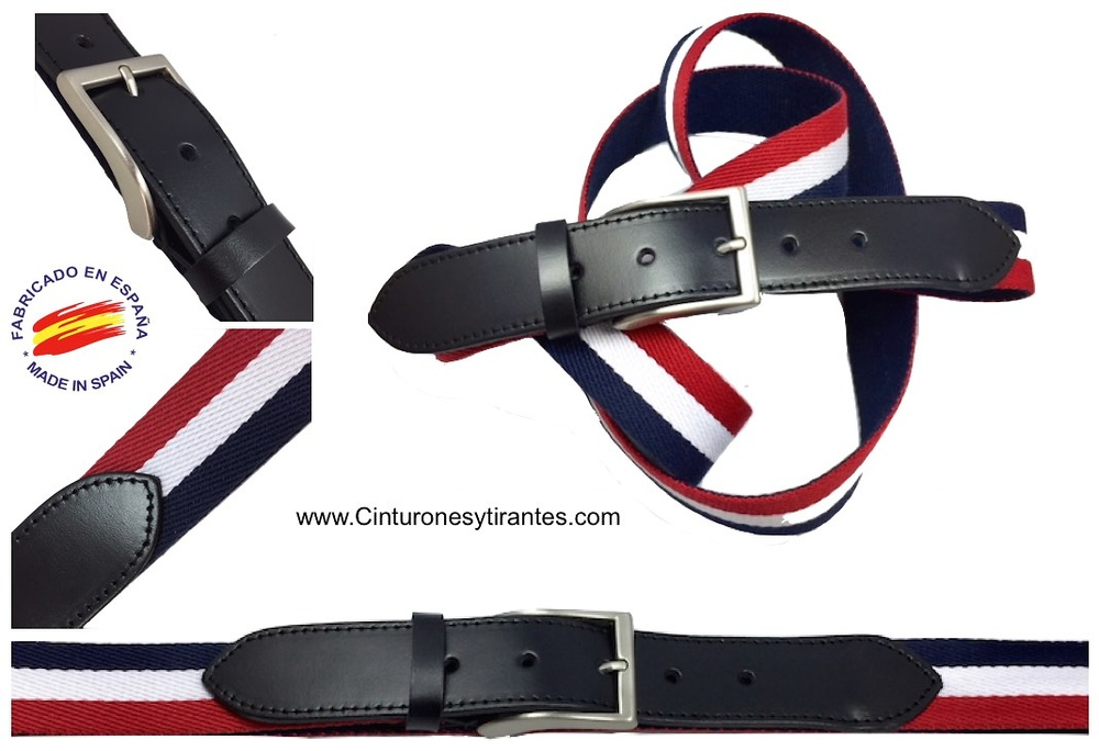cinturón tallas grandes de lona y piel