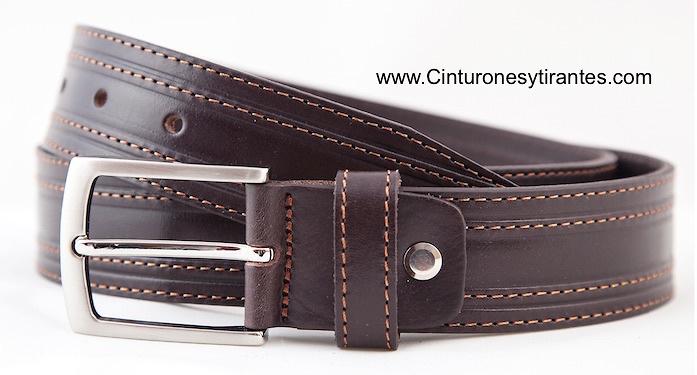 Cinturon vaqueros cuero vaqueta de calidad cosido marrón