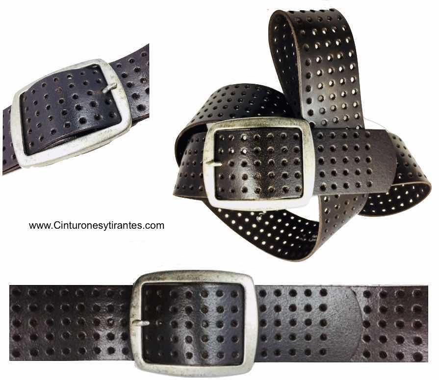 cinturón de cuero perforado ancho con hebilla plata antigua marrón