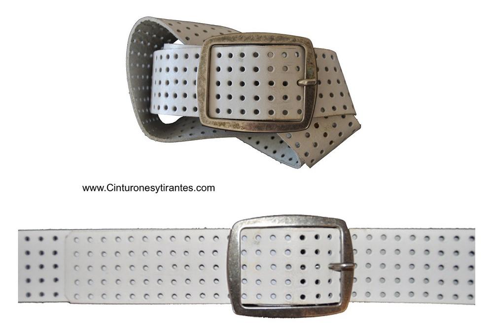 cinturón de cuero blanco con agujeros ancho