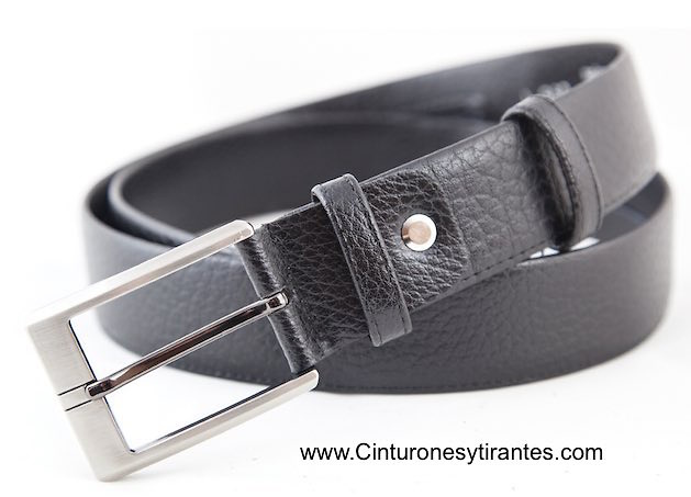 cinturón con billetero interior de piel para hombre negro