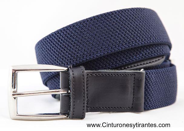 Cinturón elástico hombre con regulador talla azul marino