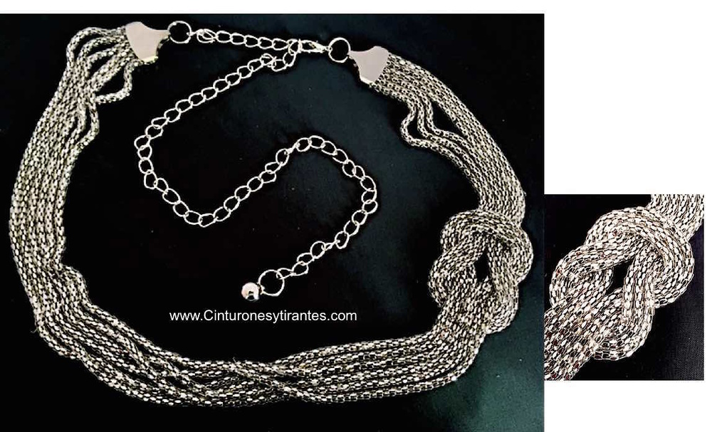 Cinturón de cadena de mujer con nudo de metal