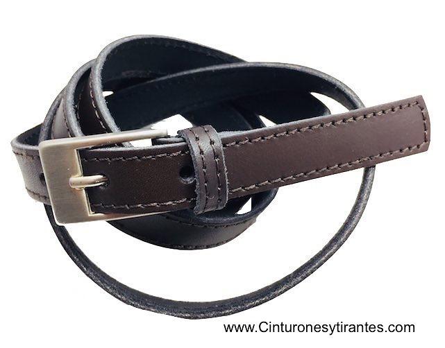 Cinturón estrecho de mujer de piel con pespunteado