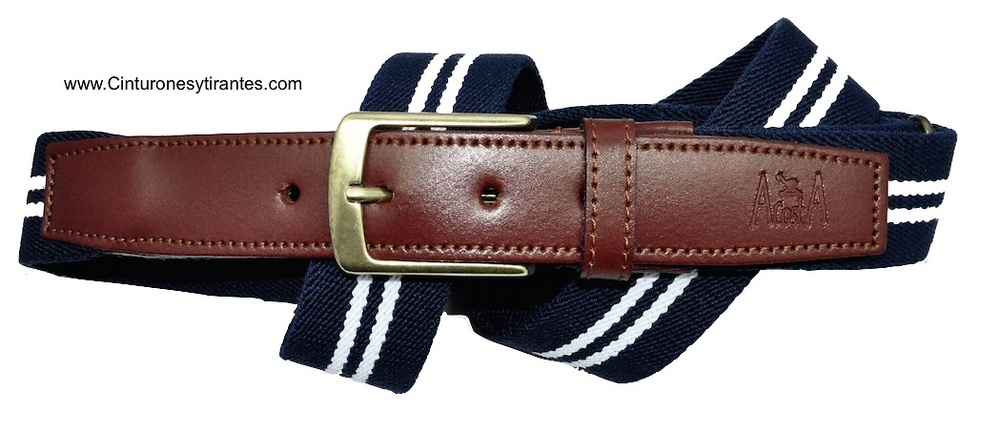 ELASTIC BELT POINTS LEATHER DOUBLE STRIPE