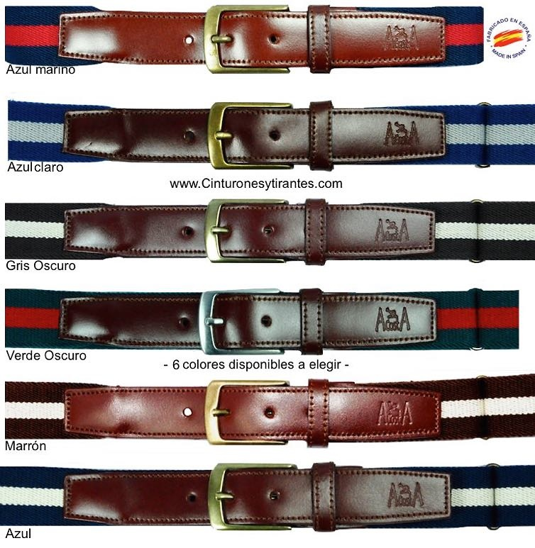ELASTIC MAN BELTS WITH SIZE AND LEATHER REGULATOR IN THE TERMINATIONS