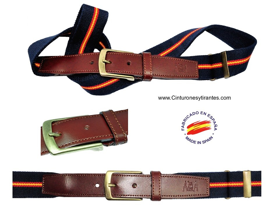 ELASTIC BELTS LEATHER POINTE -SPAIN FLAG