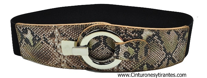 ELASTIC RUBBER SNAKE BELT WITH METAL RING CLOSURE