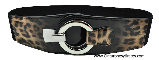 ELASTIC RUBBER TIGER BELT WITH METAL RING CLOSURE