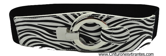 ELASTIC RUBBER ZEBRABELT WITH METAL RING CLOSURE