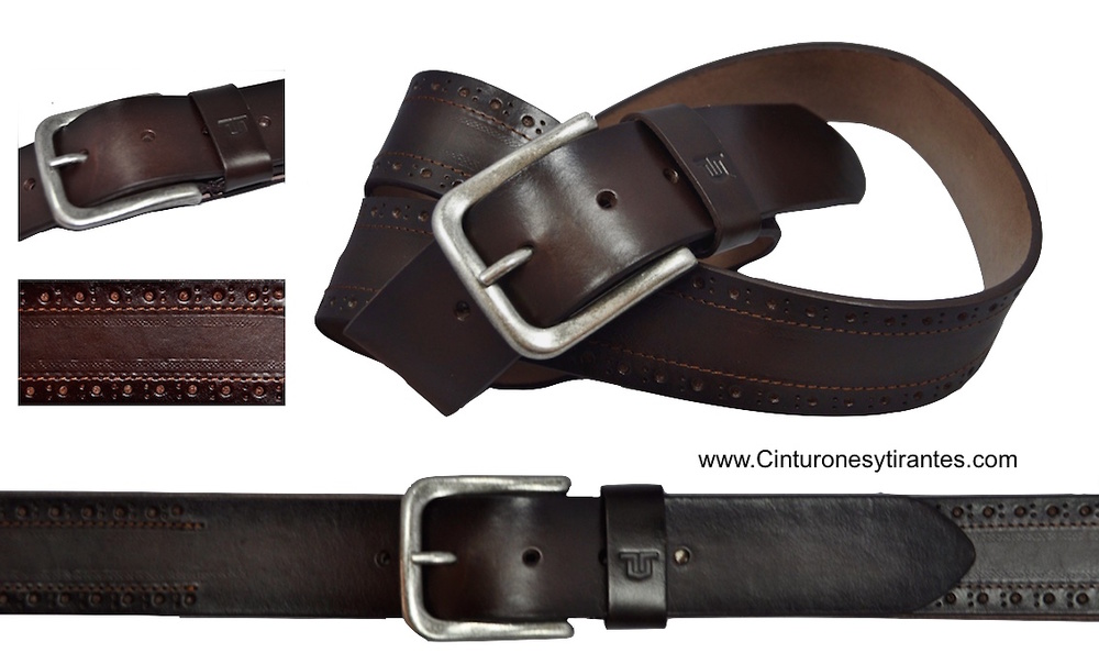 LEATHER BELT JEANS AND SPORT CLOTHING BRAND TITTO BLUNI