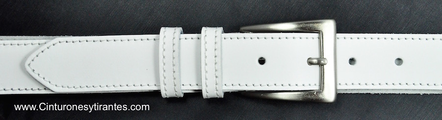 LEATHER BELT WITH DOUBLE PIN MADE WITH TONE THREAD - 7 colors-