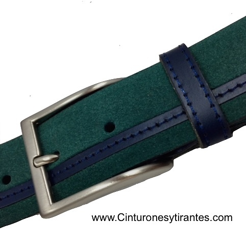 LEATHER BELT WITH FINISHED GREEN AND NAVY BLUE CUBILO BRAND