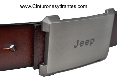 LEATHER BELT WITH JEEP BRUSH BUCKLE