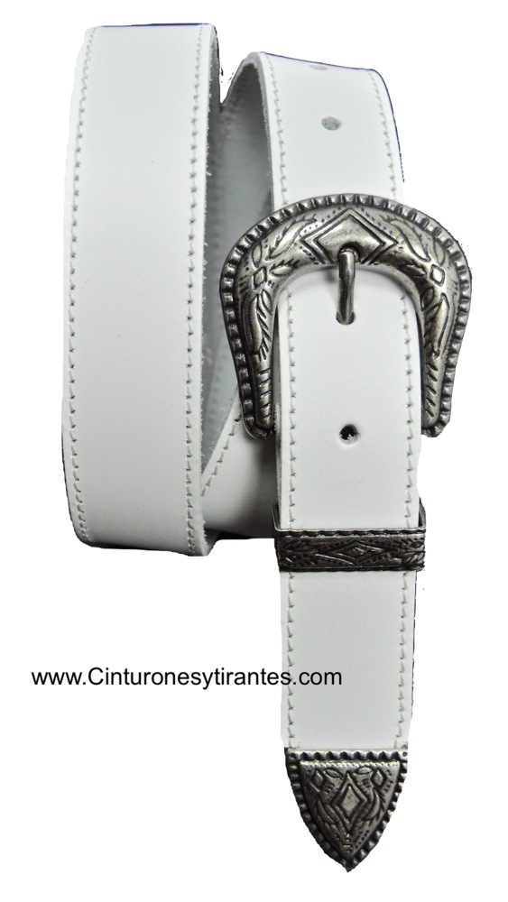 LEATHER BELT WITH TERMINATION AND METAL PIN - 5 COLORS -