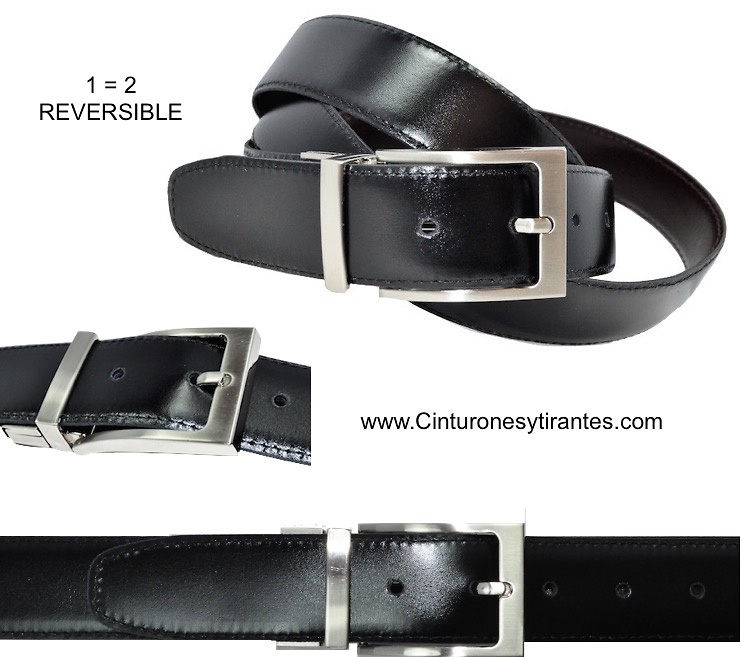 LEATHER REVERSIBLE BELT FOR MAN BLACK AND BROWN