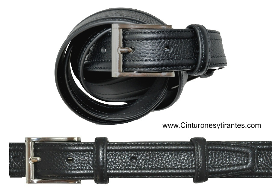 MENS LEATHER BELT WITH DOUBLE RIB