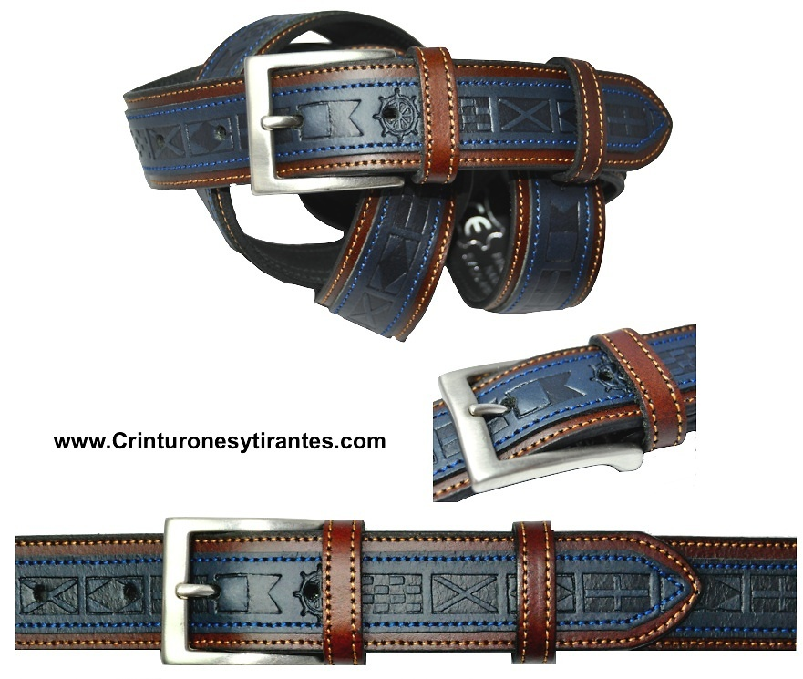 YACHT OF TWO-TONE QUALITY LEATHER BELT