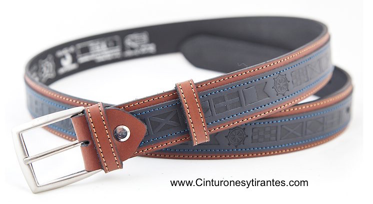 Leather sailor belt with engraved nautical flags blue and leather