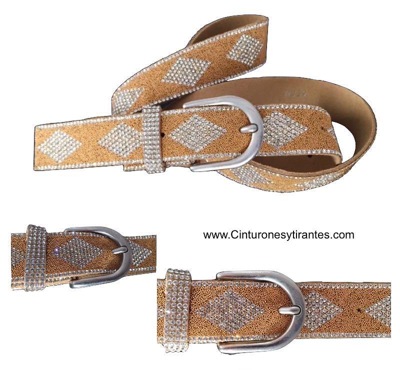 cinturones mujer con rombos de piedras strass