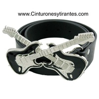 BELT MADE OF LEATHER WITH ELECTRIC GUITAR BUCKLE