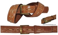BELT MAN IN LEATHER CRAFT ROUGH AND STITCHING