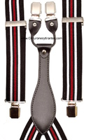 BRACES FOR MAN STRIPES WHITE  BLACK AND RED