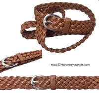 BRAIDED FINE  BELT SIMIL LEATHER