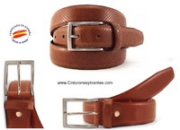 CHOPPED LEATHER GOLF BELT FOR MEN