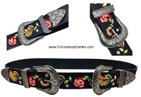 DOUBLE BUCKLE BELT WITH EMBROIDERED POINT