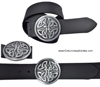 EATHER BELT BUCKLE WITH SOLID METAL CELTIC