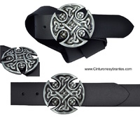 EATHER BELT BUCKLE WITH SOLID METAL CROSS CELTIC