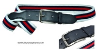 ELASTIC BELT EXTRA STRONG WHITE WITH MARINE AND RED BLUE STRIPES