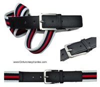 ELASTIC BELT WITH TRICOLOR SIZE REGULATOR WHITE NAVY BLUE AND RED