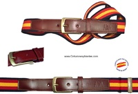 ELASTIC BELTS LEATHER POINTE  BIG SPAIN FLAG