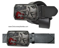ELVIS BELT MADE OF BLACK LEATHER