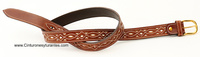 ILED LEATHER BELT WITH ORNAMENT SEWING FOR BOY OR GIRL