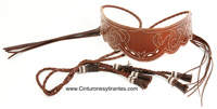 LEATHER BELT AND FIELD STITCHING FRINGED