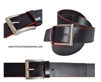 LEATHER  BELT WITH EDGES RED FERRARI  EDGES
