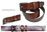 LEATHER BELT WITH EXTRA STRONG BUCKLE AND AGED SINGING