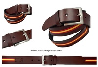 LEATHER BELT WITH FLAG OF SPAIN BROWN