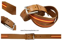 LEATHER BELT WITH FLAG OF SPAIN