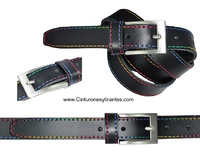 LEATHER BELT WITH MULTICOLOR SEWING THREAD UNISEX
