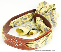 LEATHER BELT WOMEN WITH WIDE SCARF